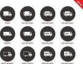 Delivery and conveyance vector icons set. Delivery to the clients concept, Items for service advertising, truck, fast delivery, 27-7, minibus delivery. Isolated on white background