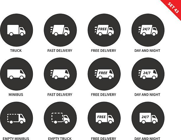 ilustrações, clipart, desenhos animados e ícones de entrega ícones em fundo branco - dia do cliente