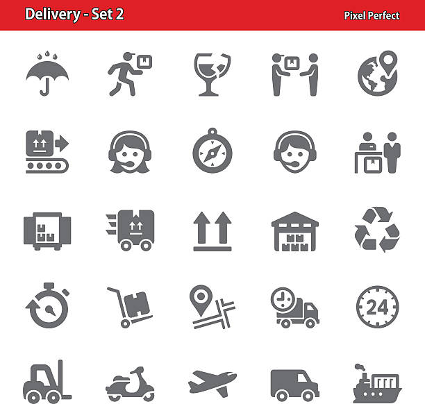 dostawa ikony-zestaw 2 - wózek transportowy stock illustrations