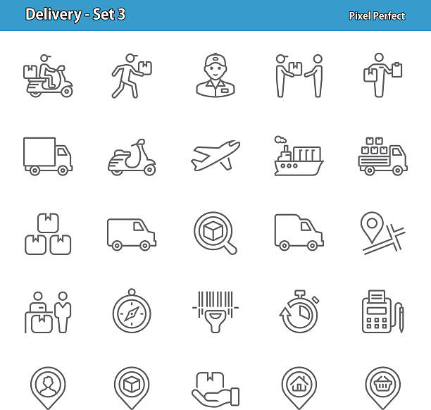delivery icons - set 3 - delivery van stock illustrations, clip art, cartoons, & icons