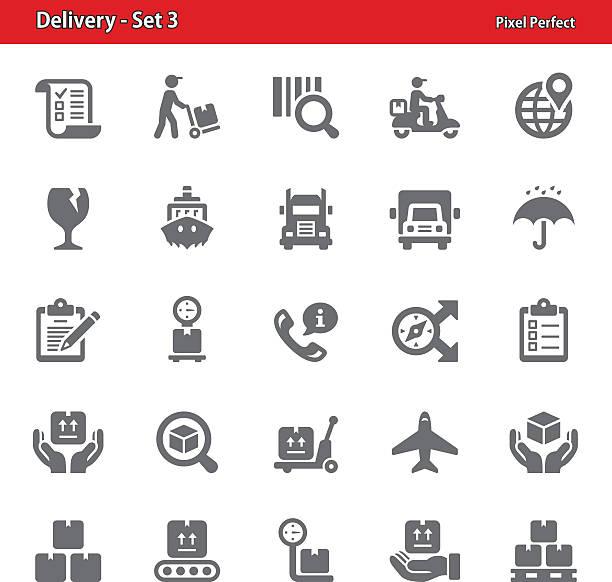 dostawa ikony-zestaw 3 - wózek transportowy stock illustrations