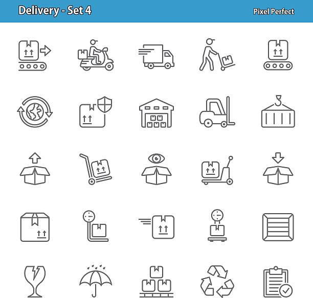 dostawa ikony zestaw 4 - wózek transportowy stock illustrations