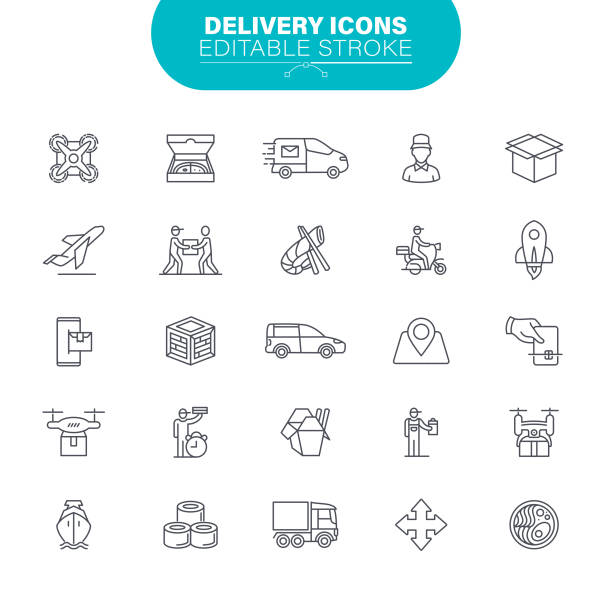 Delivery Icons. Set contains such icon as Package, Delivery Man, Freight Transportation, Dron, Illustration vector art illustration