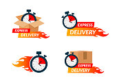 Delivery icons set for apps and website. Express delivery concept. Stopwatch in cardboard box. Vector illustration isolated on white background. Flat design. Eps10.