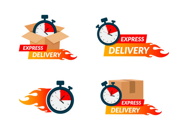 Delivery icons set for apps and website. Express delivery concept. Stopwatch in cardboard box. Vector illustration isolated on white background. Flat design. Eps10. vector art illustration