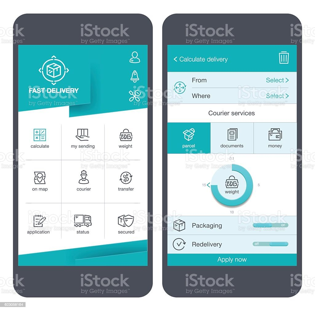 Delivery icons & User Interface on smartphone vector art illustration