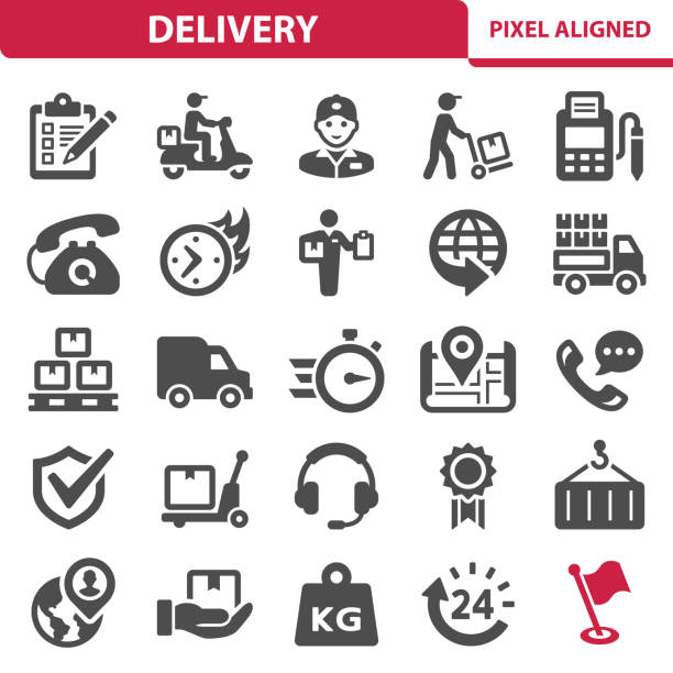 delivery icons - wózek transportowy stock illustrations