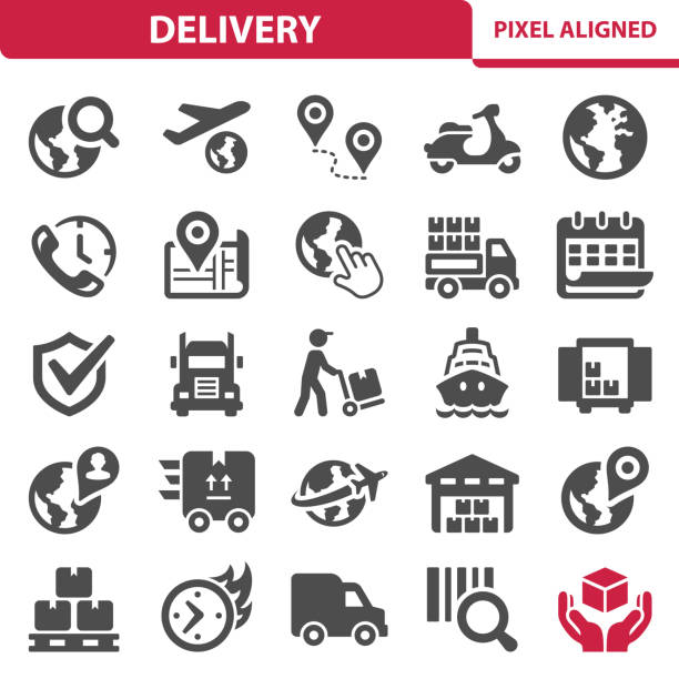 Delivery Icons Professional, pixel perfect icons, EPS 10 format. airplane symbols stock illustrations
