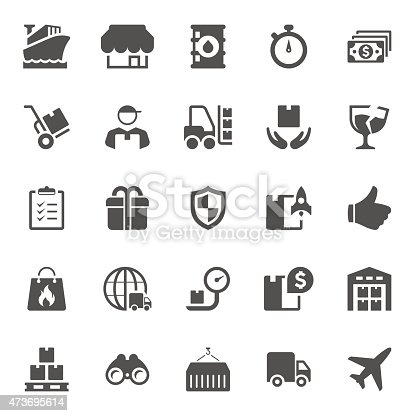 Icons symbolizing the delivery including shipping,