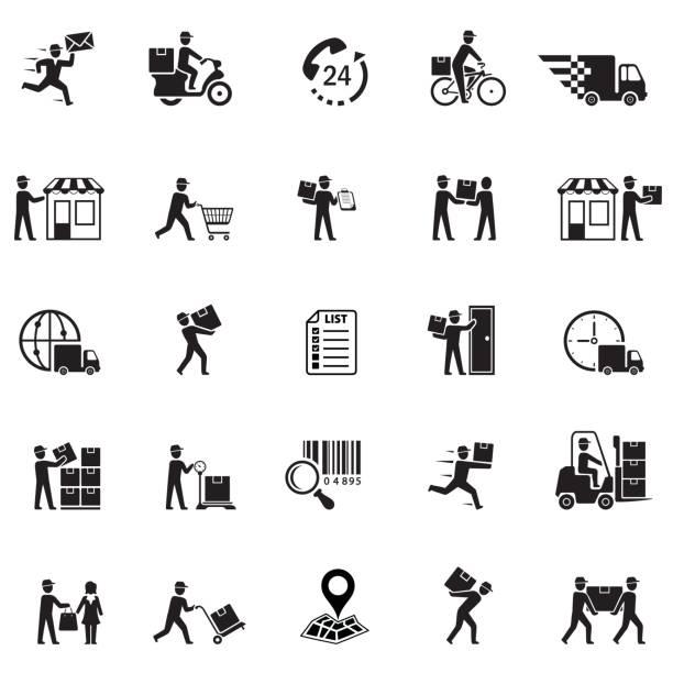 illustrazioni stock, clip art, cartoni animati e icone di tendenza di icone di consegna - portare