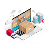 Delivery service online isometric concept with storage in laptop, parcel box, truck, buildings isolated on white background. Logistic advert 3d design. Vector illustration for web, banner, mobile app
