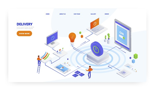 Delivery, landing page design, website banner template, flat vector isometric illustration. IT service delivery, cdn.