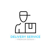 Delivery line icon. Courier with parcel box concept. Thin line style. Black vector courier delivery service icon