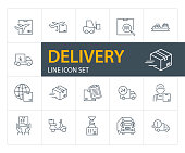 Delivery line icon set. Courier, ship, truck. Shipment concept. Can be used for topics like cargo, mailing, postal service