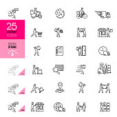Delivery Line Icons. Editable Stroke.