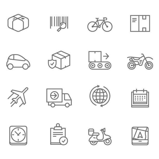 delivery line icons - illustration - delivery van stock illustrations, clip art, cartoons, & icons