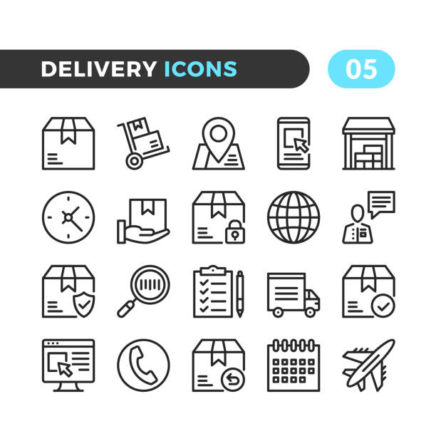 Delivery line icons. Outline symbols collection. Modern stroke, linear elements. Premium quality. Pixel perfect. Vector thin line icons set vector art illustration