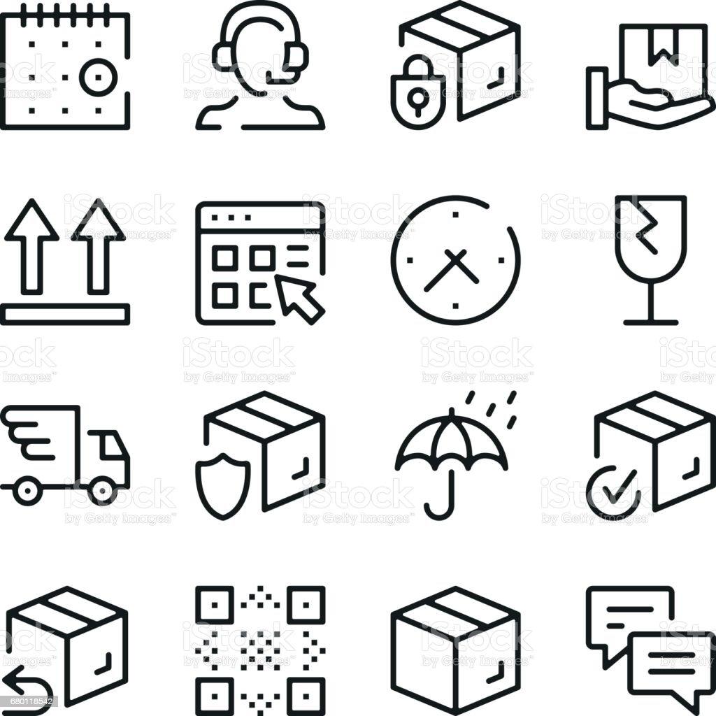 Icônes de ligne de livraison définies. Concepts de design graphique moderne, collection elements contour simple. Icônes de vecteur ligne - Illustration vectorielle