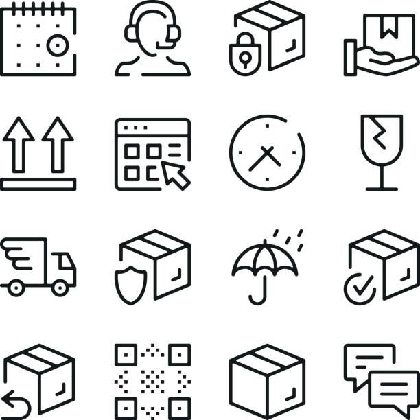 Delivery line icons set. Modern graphic design concepts, simple outline elements collection. Vector line icons vector art illustration