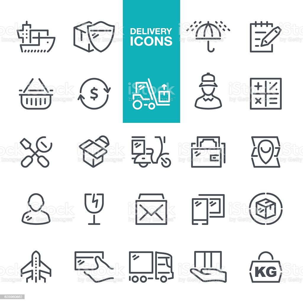 Delivery line icons vector art illustration