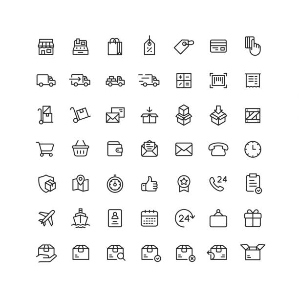 delivery & logistic outline icons - handel detaliczny stock illustrations