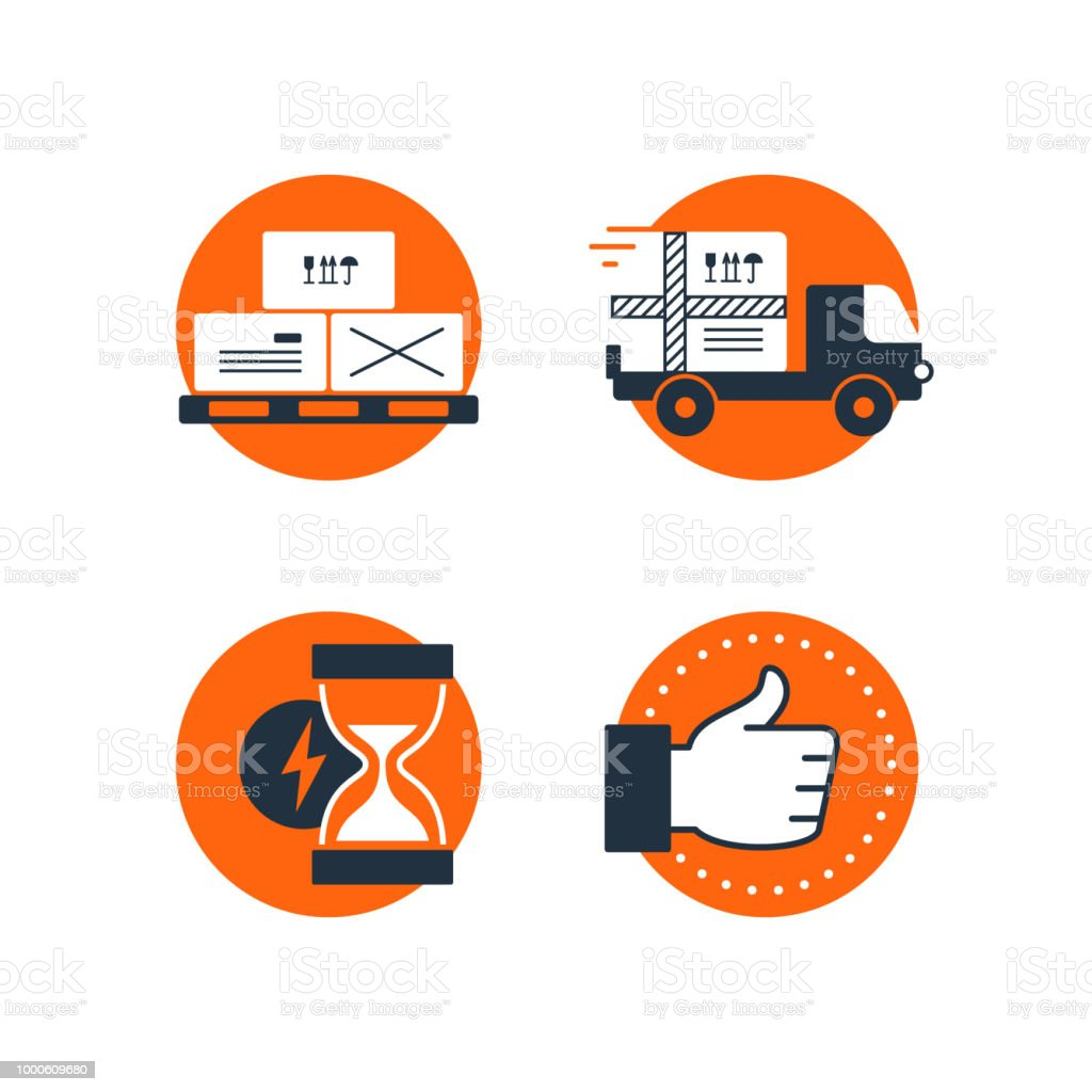Delivery Logistics Services Icons Set Move Boxes Loading Truck Time
