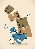 Blue Little Guy Characters Vector art illustration.Copy Space. Delivery man carrying a pile of cardboard boxes, slipping and falling down.
