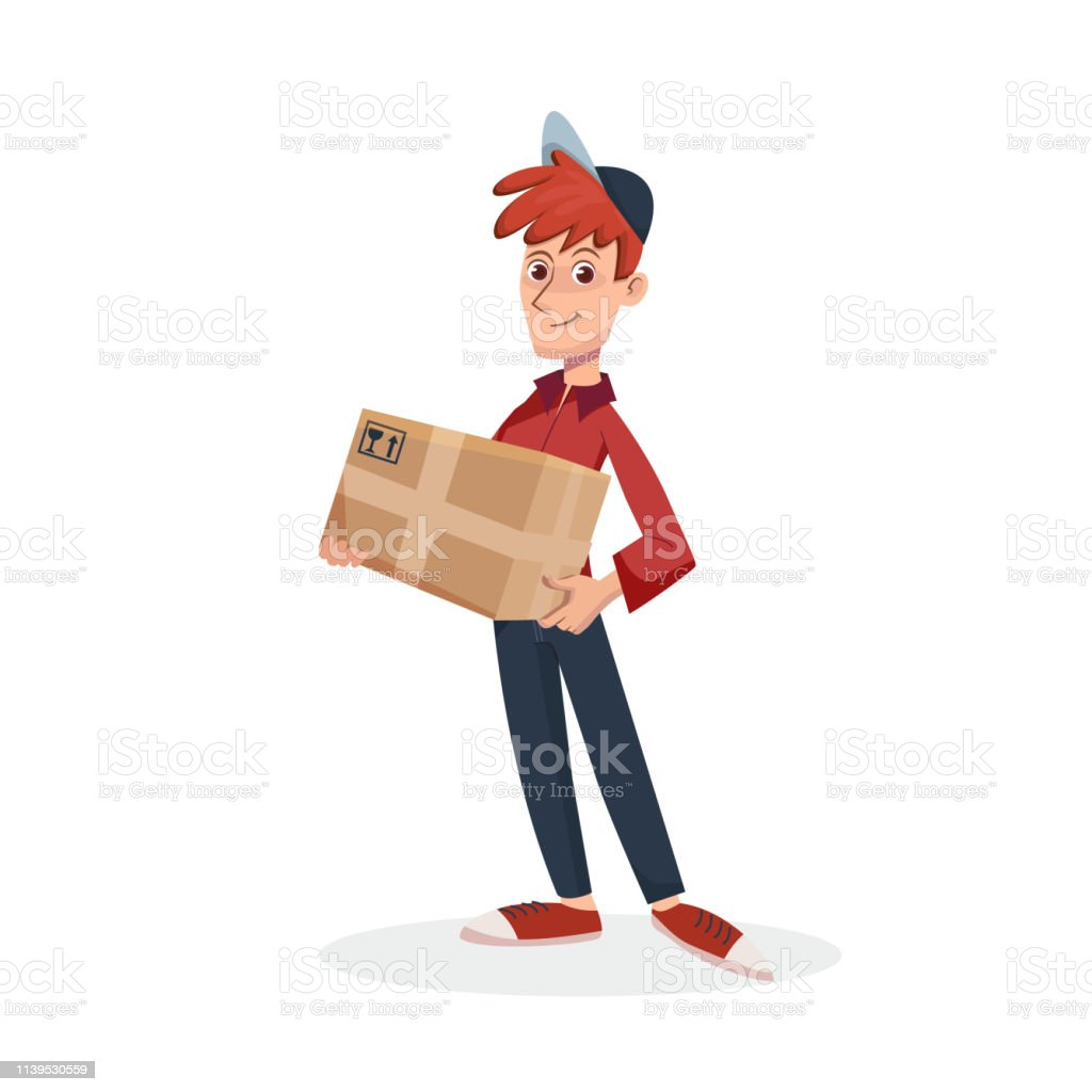 Delivery man holding cardboard parcel box. Fast Delivery service by...