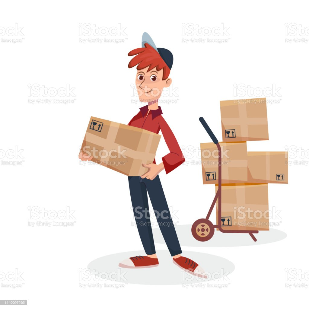 Delivery man holding cardboard parcel box with delivery hand cart...