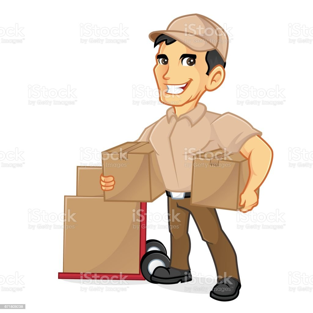 Delivery man holding package vector art illustration