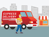 Delivery man illustration. Delivery concept, Service fast delivery. Courier with parcel on the background of a van. Illustration in a flat style. Vector illustration