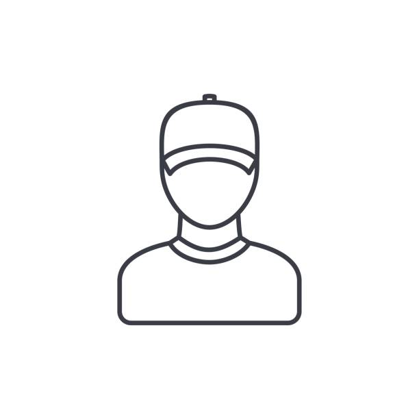 Delivery man in cap, courier thin line icon. Linear vector symbol Delivery man in cap, courier thin line icon. Linear vector illustration. Pictogram isolated on white background uniform cap stock illustrations