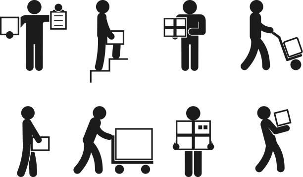 stockillustraties, clipart, cartoons en iconen met delivery man poses vector - oppakken