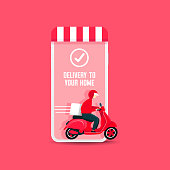 Delivery man riding a scooter out of the phone. Fast food delivery app on a smartphone with delivery man on a scooter.