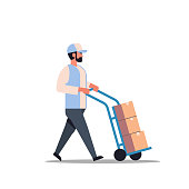 istock delivery man rolling cardboard box cargo trolley pushcart courier carrying parcels on hand truck warehouse worker male cartoon character full length flat isolated 1082728004