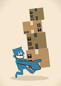 Blue Little Guy Characters Vector art illustration.Copy Space. Delivery man running and carrying a pile of cardboard boxes.