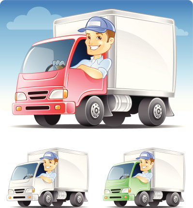 Delivery man, Serviceman, Repairman Driving Commercial Truck