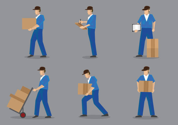 delivery man vector character set - wózek transportowy stock illustrations
