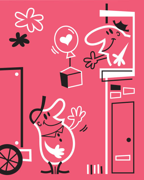 delivery man - peter bajohr stock illustrations
