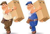 A happy delivery Man carrying a big box. In two clothing variations.