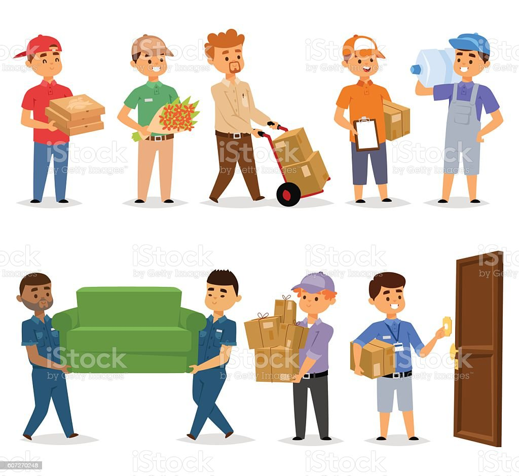 Delivery man vector set. vector art illustration
