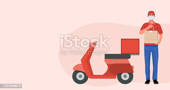 istock Delivery man wearing face mask holding bag with food, vector 1224558670