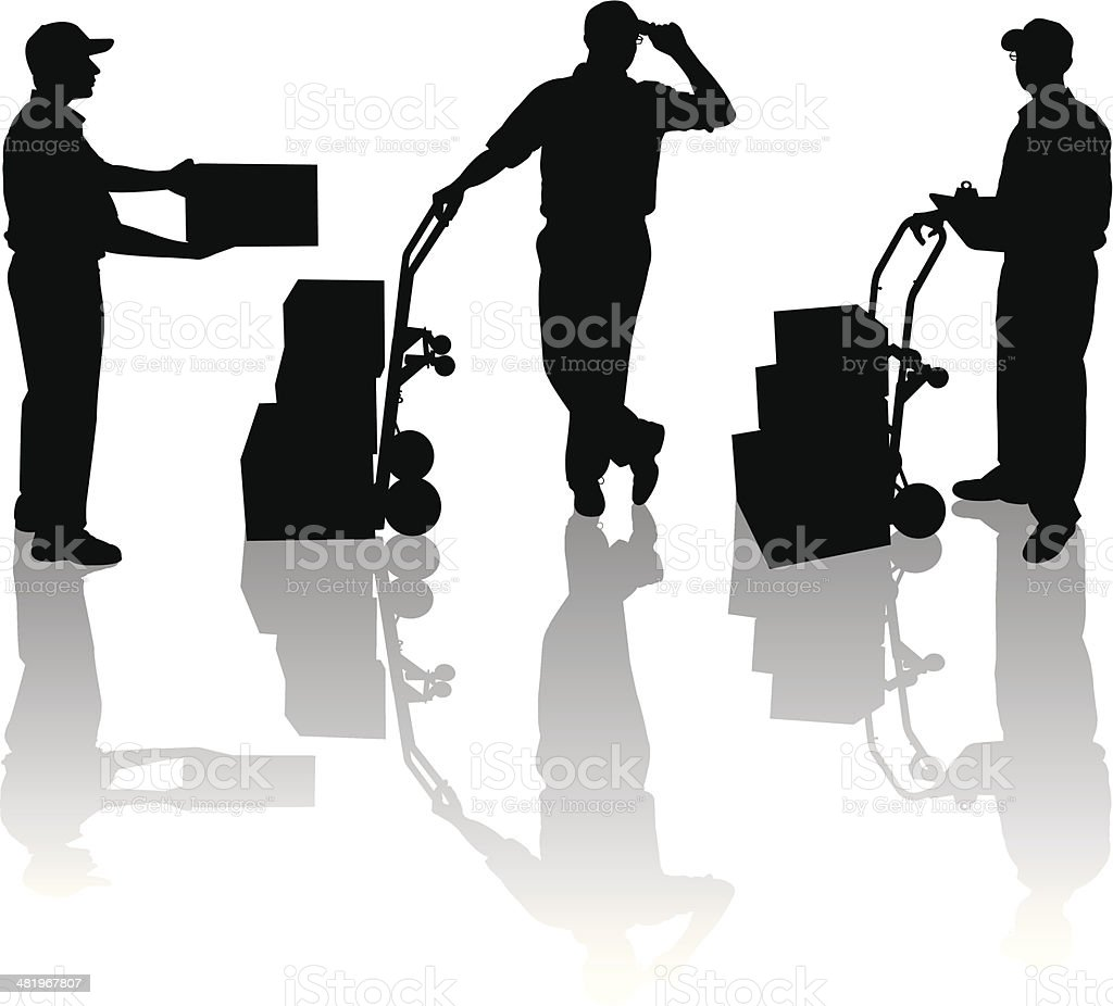 Delivery Man with Boxes, Handtruck and Clipboard royalty-free stock vector art