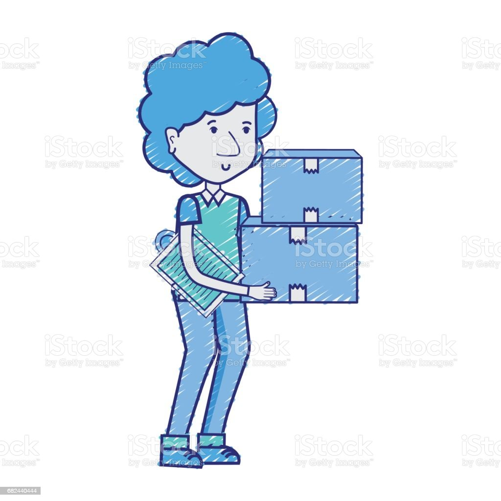 delivery man with packages box distribution royalty-free delivery man with packages box distribution stock vector art & more images of adult