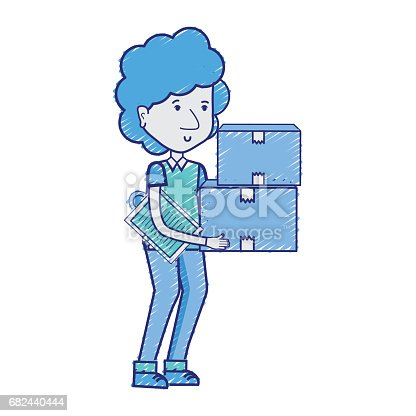 Delivery Man With Packages Box Distribution Stock Vector Art & More Images of Adult 682440444