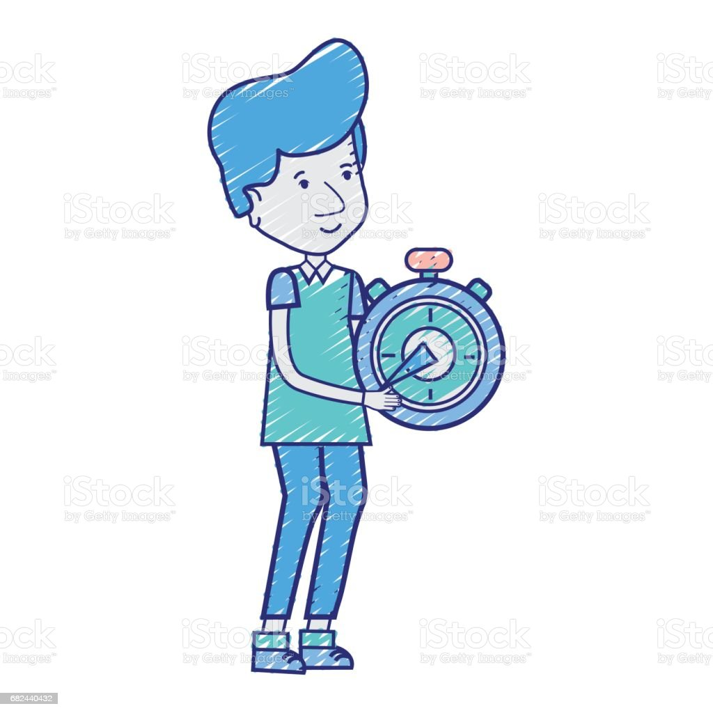 delivery man with pocket clock in the hands royalty-free delivery man with pocket clock in the hands stock vector art & more images of adult