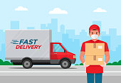 istock Delivery man with protective medical mask and delivery truck, during coronavirus covid-19 epidemic 1249003777