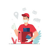Delivery concept with people character in flat design style