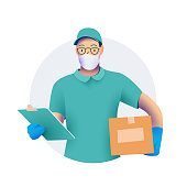 Delivery men or courier in protective medical face mask with a box in his hands.  and protective gloves. Delivery of goods during the prevention of coronovirus concept. Vector eps 10 illustration.