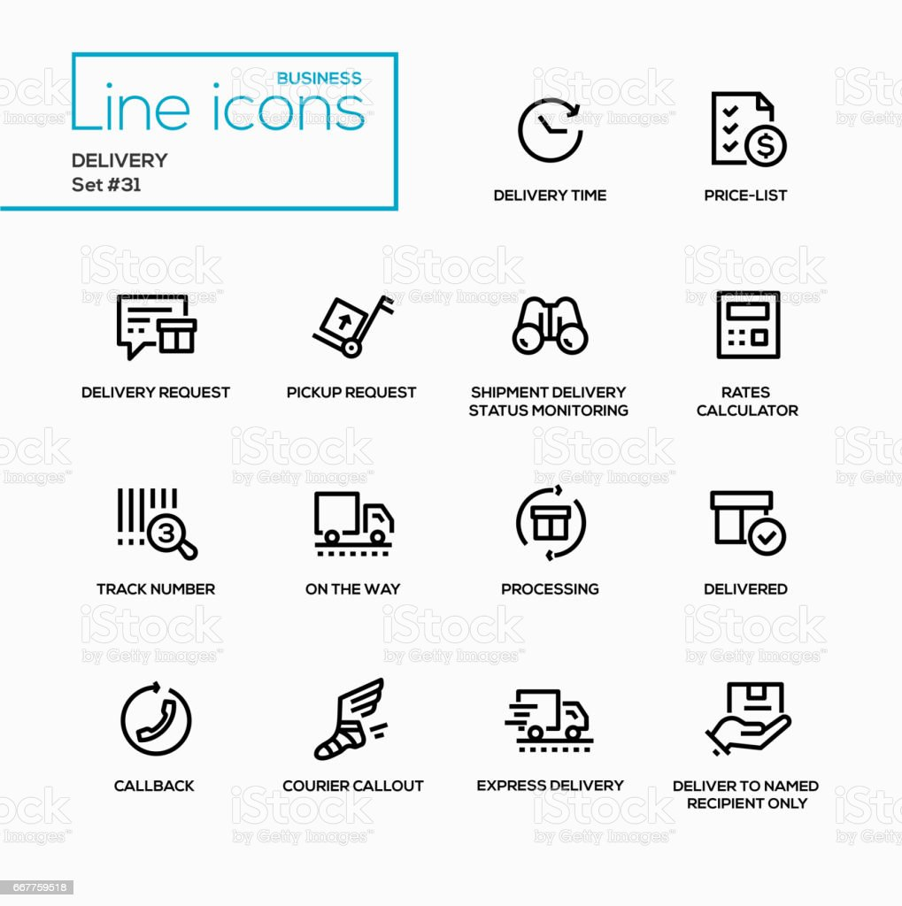 Delivery - modern vector single line icons set vector art illustration